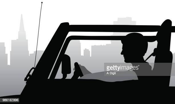 driving home from the city - suv stock illustrations, clip art, cartoons, & icons