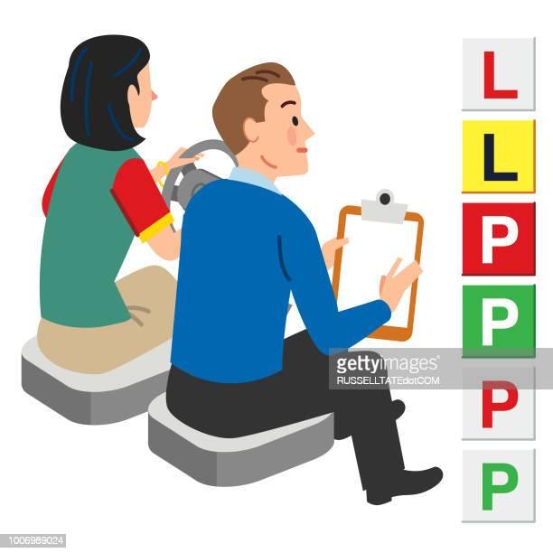 illustrations, cliparts, dessins animés et icônes de instructeur de conduite - permis de conduire