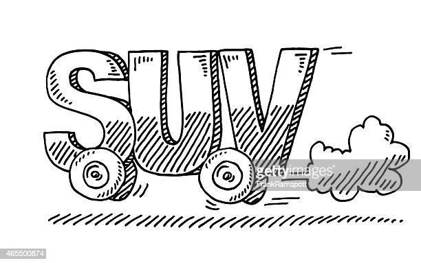 Vehículo deportivo utilitario (SUV) y conducción cartas de dibujo