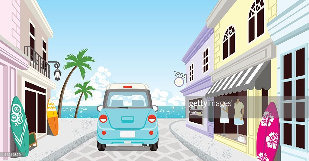 Driving Light blue car in the Seaside town - EPS10