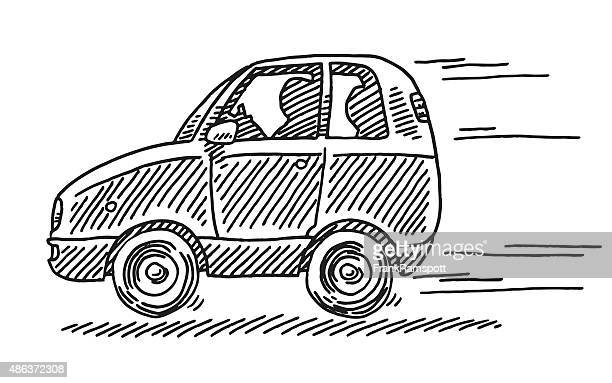 Driving Little Car Side View Drawing
