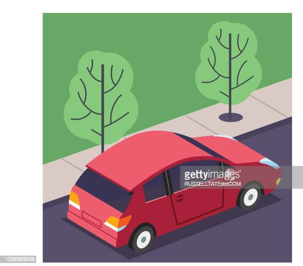 driving on the streets - compact car stock illustrations, clip art, cartoons, & icons