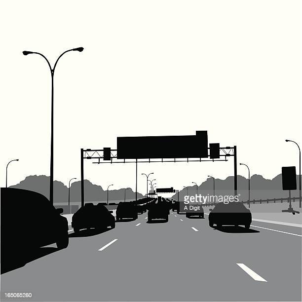 Driving Scape Vector Silhouette Vector