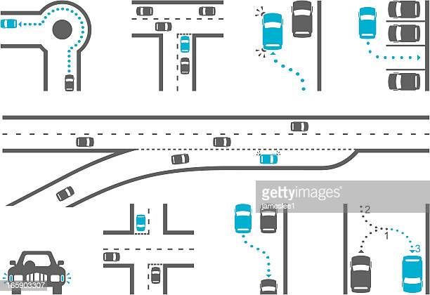 driving school diagram icons - road intersection stock illustrations