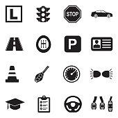 Driving School Icons. Black Flat Design. Vector Illustration.