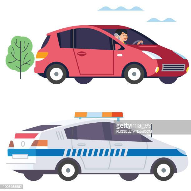 driving whilst on phone - car ownership stock illustrations, clip art, cartoons, & icons