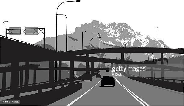 drivingthroughthealps - overpass road stock illustrations