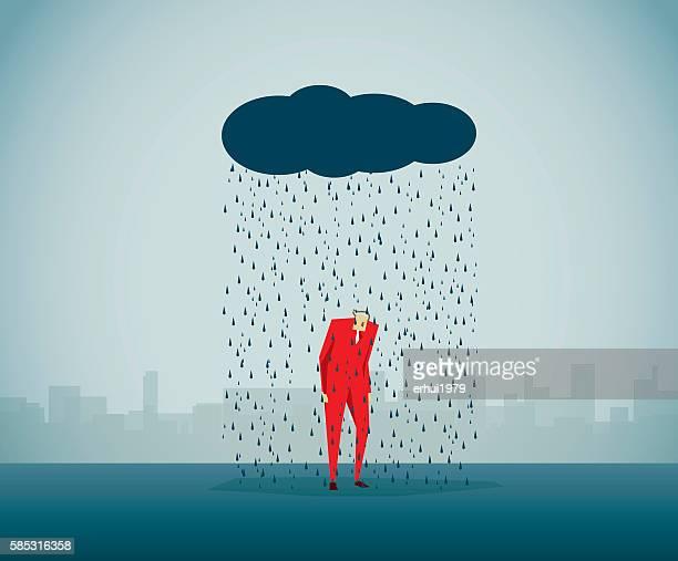 ilustraciones, imágenes clip art, dibujos animados e iconos de stock de llovizna - hombre llorando