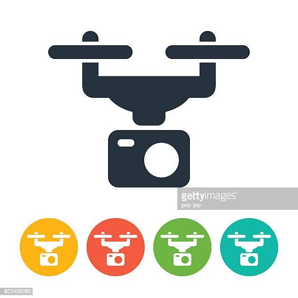 ilustraciones, imágenes clip art, dibujos animados e iconos de stock de drone and camera icon - drone