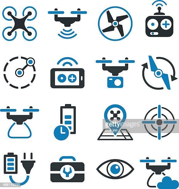 ilustraciones, imágenes clip art, dibujos animados e iconos de stock de soniquete y cuádruple copter iconos y símbolos de la ilustración - drone