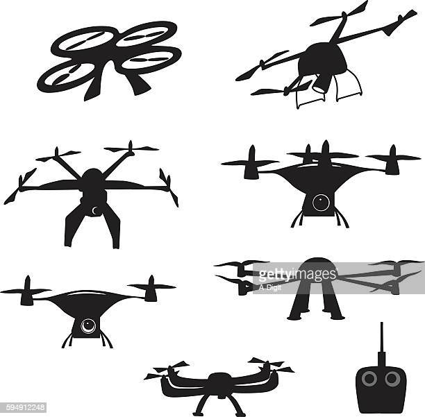 drone arial video - drone stock illustrations, clip art, cartoons, & icons