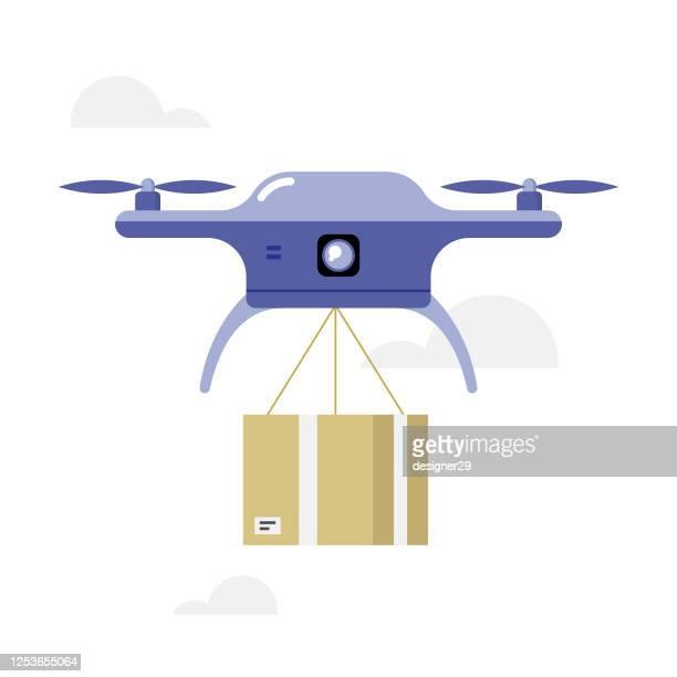 illustrations, cliparts, dessins animés et icônes de drone delivery icon flat design. boîte d'expédition transportant drone vector design. - drone