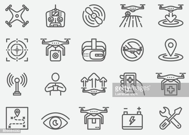 drone line icons - antenna aerial stock illustrations, clip art, cartoons, & icons