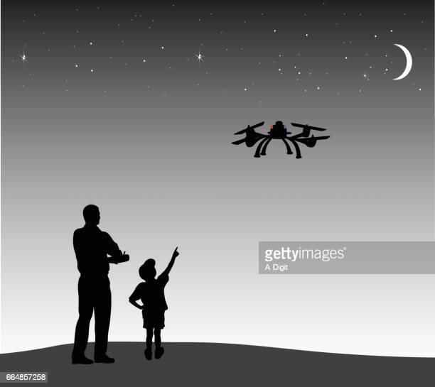 drone night flight - drone stock illustrations, clip art, cartoons, & icons