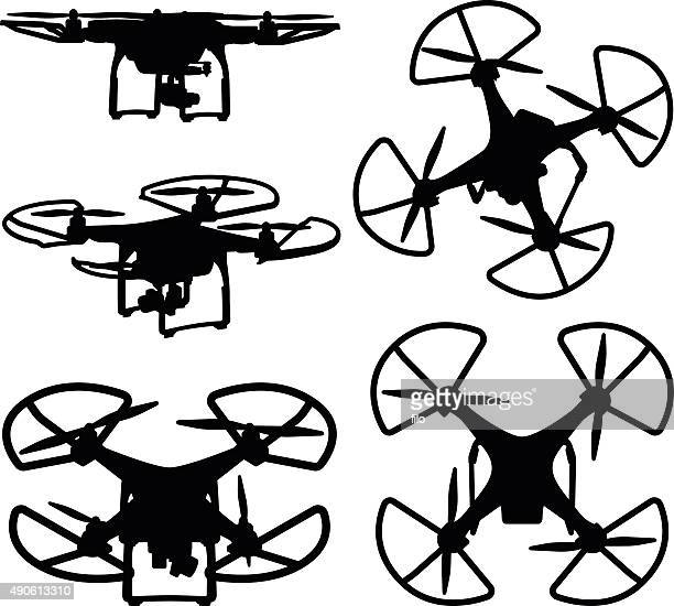 ilustraciones, imágenes clip art, dibujos animados e iconos de stock de soniquete siluetas - drone
