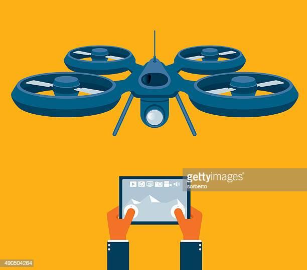 ilustraciones, imágenes clip art, dibujos animados e iconos de stock de soniquete con cámara - drone