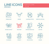 Drones - line design icons set