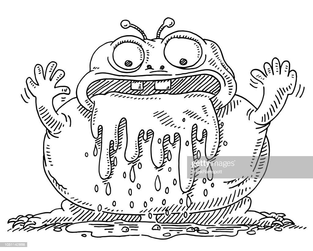 Sabbern Cartoon Monster Zeichnung : Stock-Illustration