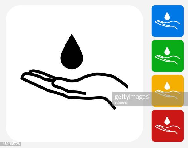 Drop and Hand Icon Flat Graphic Design
