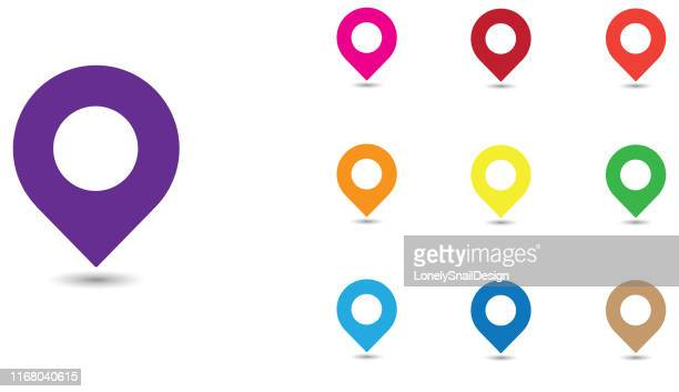 drop pins five - locator map stock illustrations