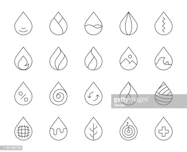 drop shape - thin line icons - water stock illustrations