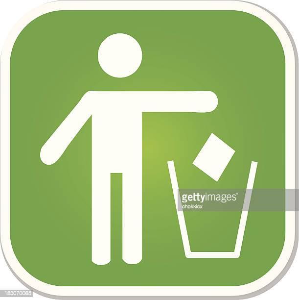 illustrations, cliparts, dessins animés et icônes de drop ordures dans la poubelle symbole badge - poubelle