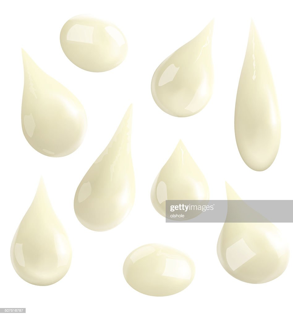 Drops of milk isolated on white background. Vector illustration