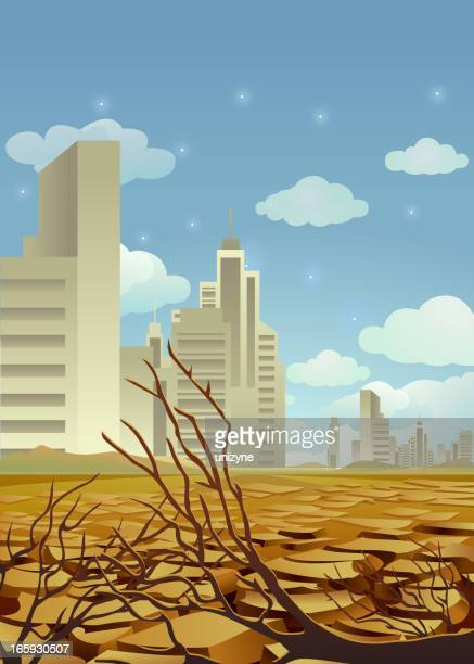 drought effected city - dehydration stock illustrations, clip art, cartoons, & icons