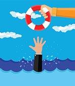 drowning businessman gets a lifebuoy