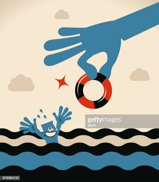 drowning businessman getting lifebuoy from a big helping hand for help - buoy stock illustrations, clip art, cartoons, & icons