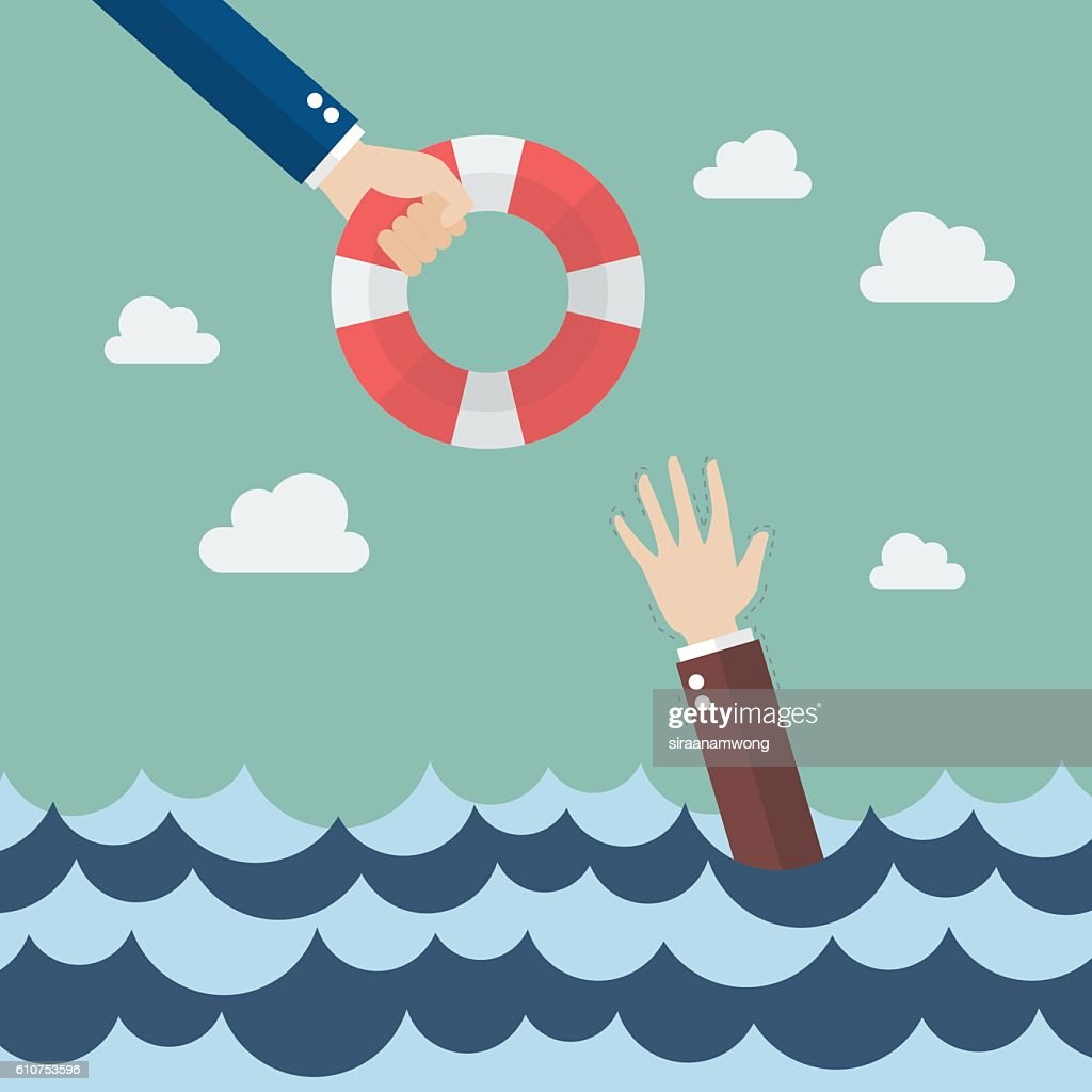 Drowning businessman getting lifebuoy from other businessman
