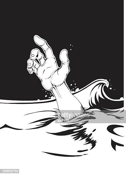Se afogando humana