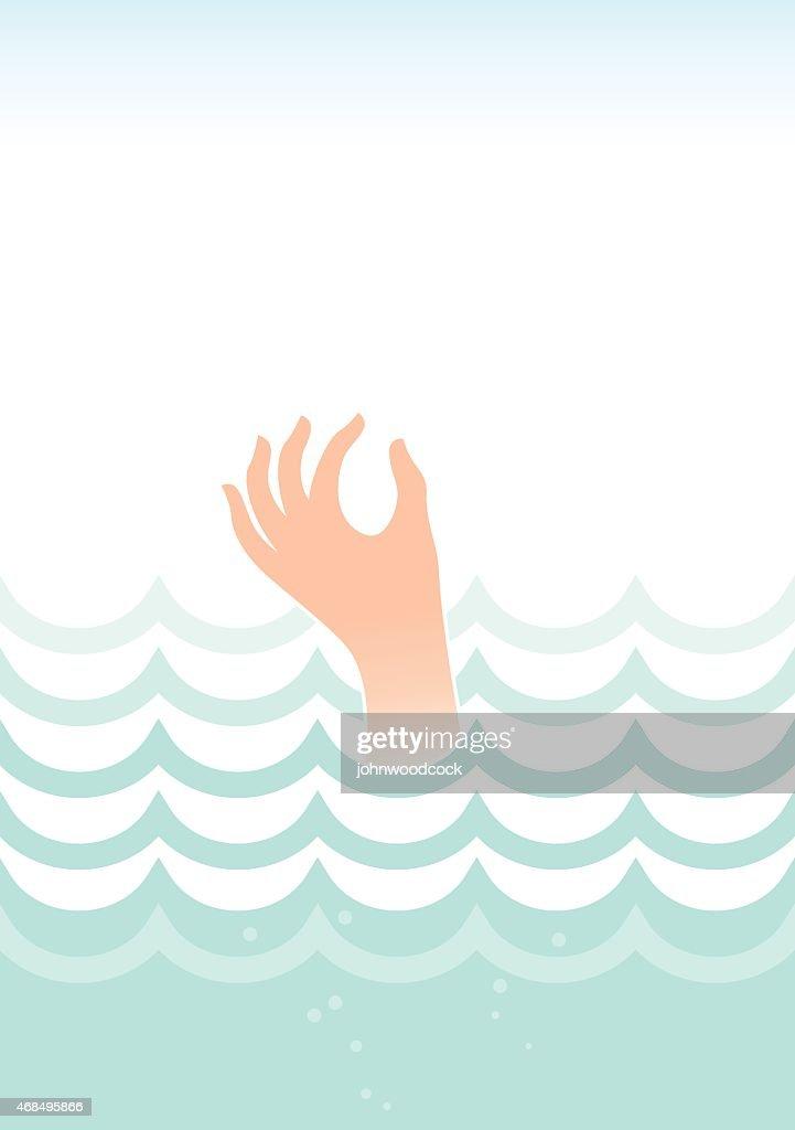 Drowning in the sea illustration : stock illustration
