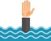 Drowning Man Flat Vector Illustration