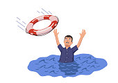 Drowning man sticking out of the water trying to catch lifebuoy. Safety and urgent help. Resque needed. Flat vector illustration. Isolated.