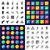 Drug Cartel All in One Icons Black & White Color Flat Design Freehand Set