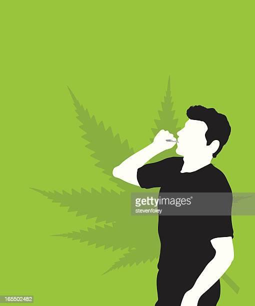 ilustraciones, imágenes clip art, dibujos animados e iconos de stock de usuario de drogas-marihuana - fumar marihuana