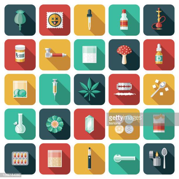 drugs and addiction icon set - crack pipe stock illustrations