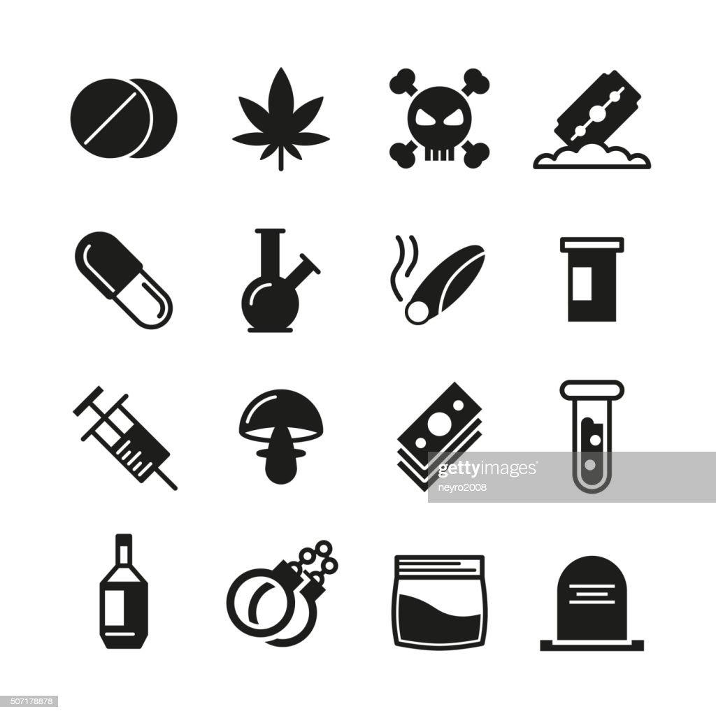 Drugs black vector icons set