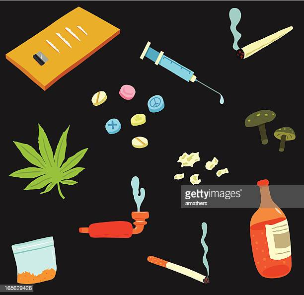 drugs collection - marijuana joint stock illustrations, clip art, cartoons, & icons