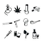 Drugs flat icons set, vector illustration.