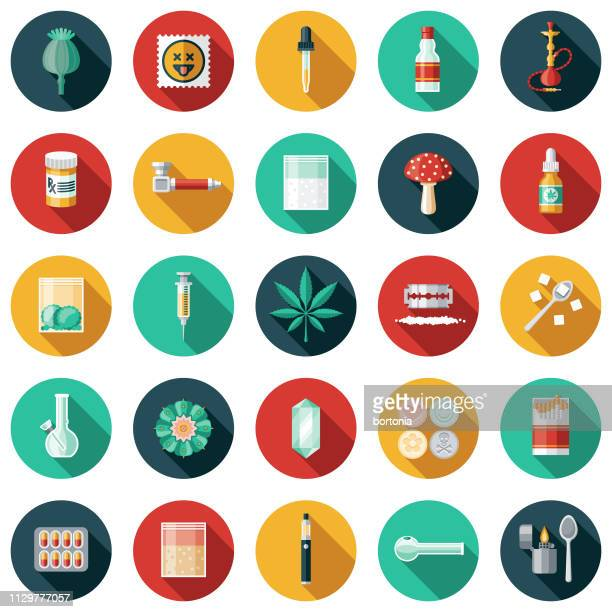 drugs icon set - recreational drug stock illustrations, clip art, cartoons, & icons