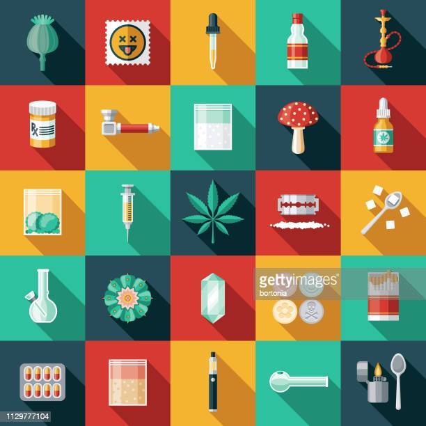 drugs icon set - cocaine stock illustrations, clip art, cartoons, & icons