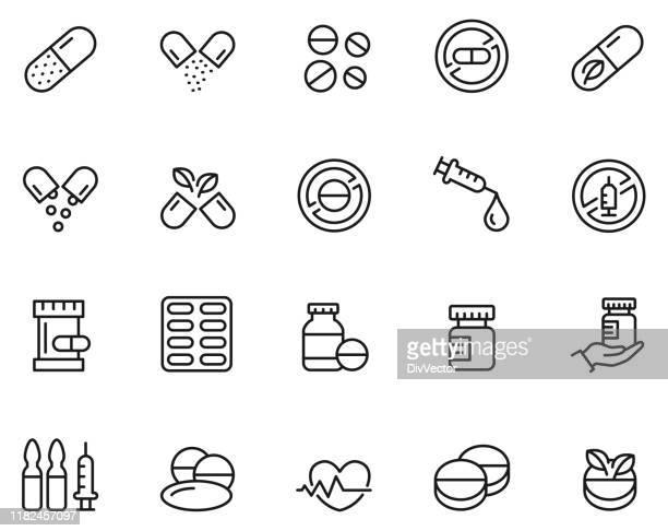 薬物アイコンセット - タブレット点のイラスト素材/クリップアート素材/マンガ素材/アイコン素材