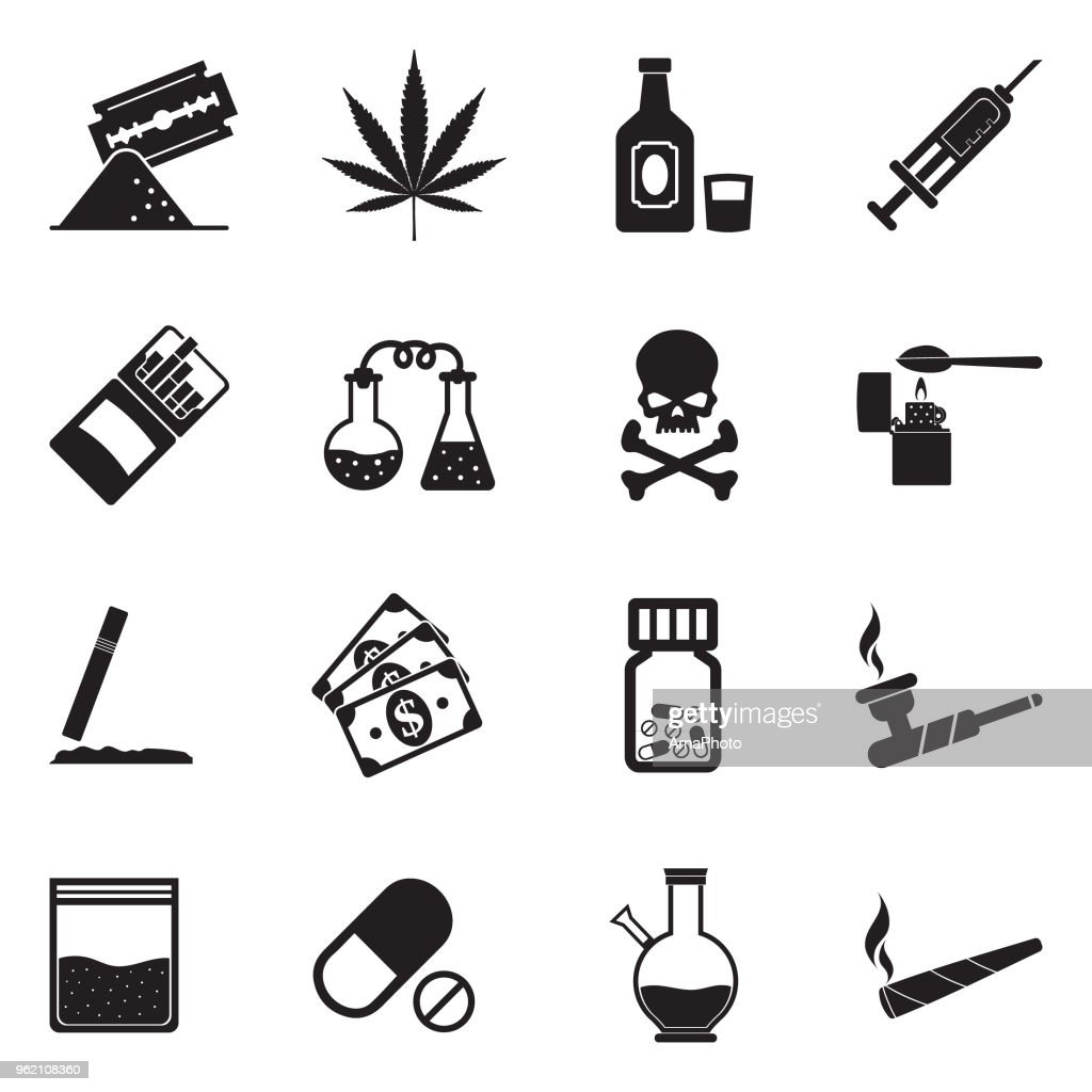 Drugs Icons. Black Flat Design. Vector Illustration.
