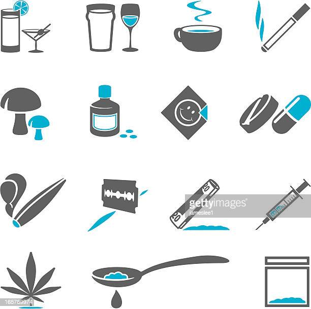 drugs icons - cocaine stock illustrations, clip art, cartoons, & icons