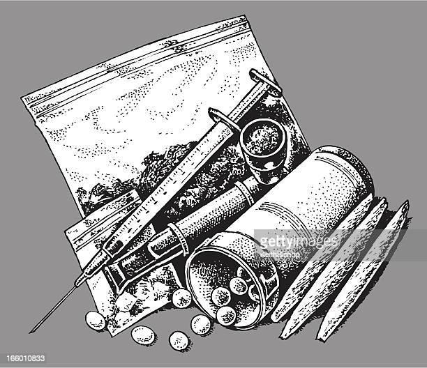 drugs - prescription, recreational, addictive - cannabis medicinal stock illustrations, clip art, cartoons, & icons