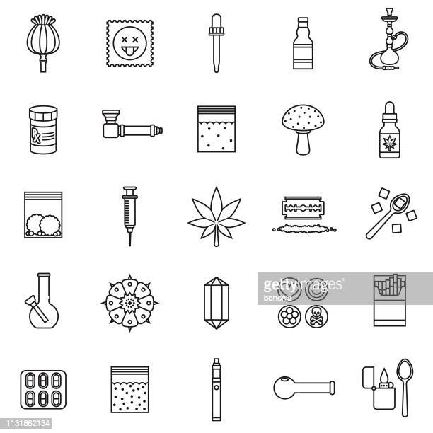 Drugs Thin Line Icon Set