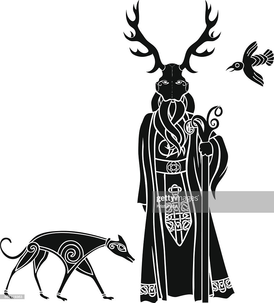 Druid with ritual mask, wolf and a bird