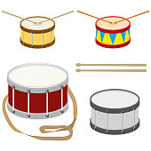 Drum, a set of realistic drums with drum sticks.
